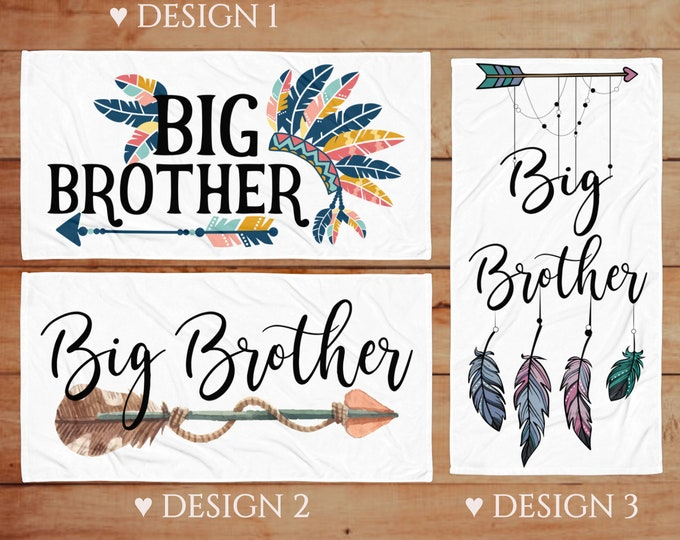 Boho Big brother beach towels - Pregnancy Announcement Ideas - Big Brother Arrow Gifts - Big Brother Beach Towel - Brother Announcement