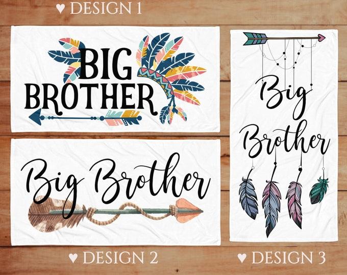 Boho Big brother beach towels - Pregnancy Announcement Ideas - Big Brother Arrow Gifts - Big Brother Beach Towel - Brother Announcement