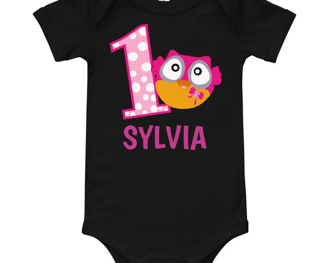 1st Birthday Girl Outfit | Pink Owl First Birthday Baby Bodysuit | First Birthday Outfit Girl Owl | 1st Birthday Shirt Girl | 1st Birthday