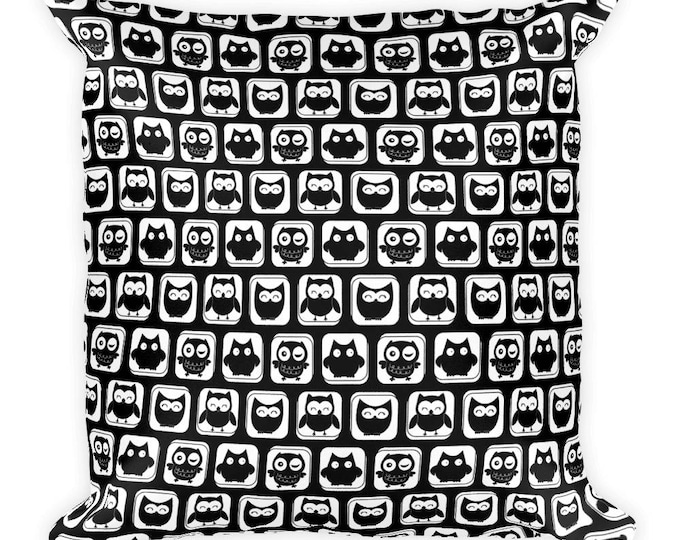 """Cute Black and White 18""""x18"""" Owl Throw Square Pillow, Decorative Throw Pillow, Pillow, Owl Pillow,Gift Pillow, Nature Pillow, Pattern Pillow"""