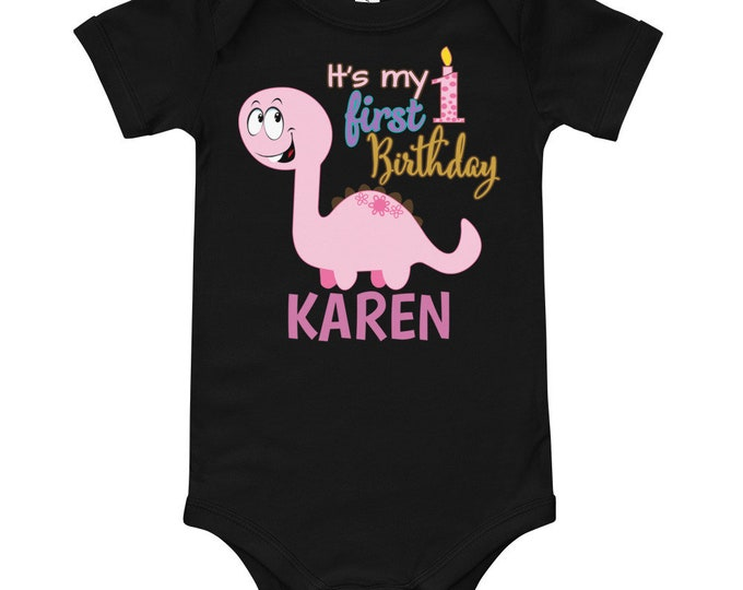 Pink Dino Custom Name First Birthday Outfit | 1st birthday outfit | 1st birthday girl | girl first birthday | first birthday shirt