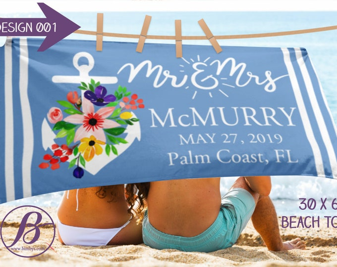 Mr and Mrs Bride Beach Towel - Personalized Beach Towel - Beach Towel Personalized - Bride Towel - Personalized Future Mrs - Bridesmaid Gift
