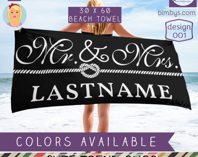 Custom Mr. and Mrs. Towel | Wedding Gift | Newlywed Gift | Engement Gift | Mr and Mrs Monogram Beach Towel | Custom Wedding Towels