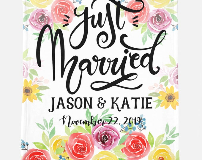 Custom Just Married Wedding Blanket - Personalized Minky Blanket -Wedding Gift -Custom Blanket -Monogrammed Blanket