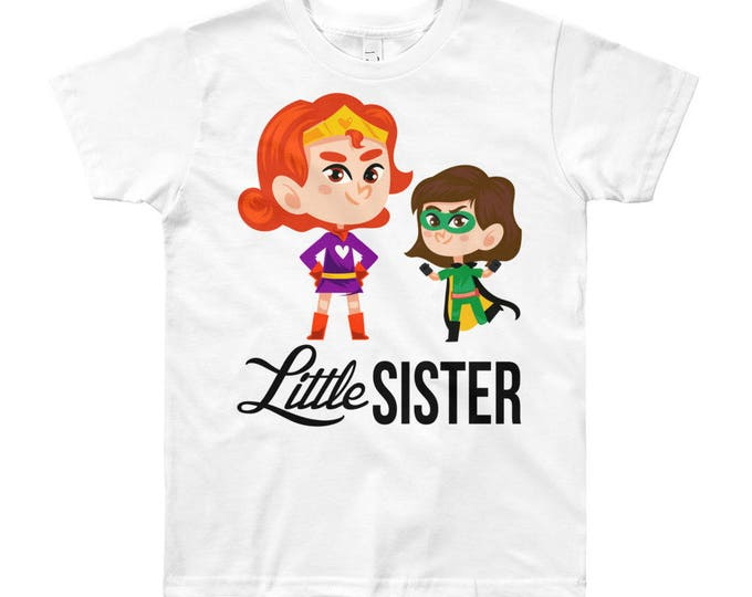 SALE Superhero Character Little Sister T-Shirt, little sister, little sister shirt, big sister shirt, little sister outfit, sister shirts