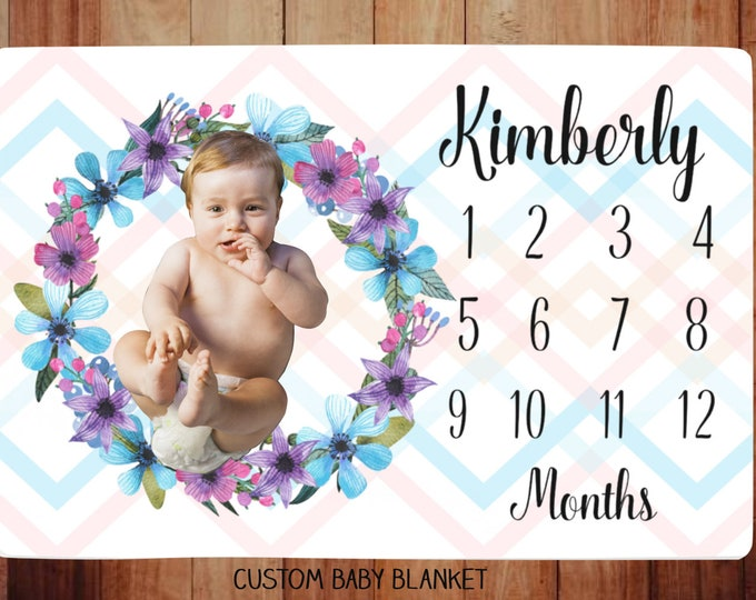 Milestone Blanket  Personalized -Baby Month Flower Wreath Milestone Blanket - Monthly Growth Tracker Baby Blanket - Baby Shower Gift