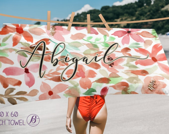 Personalized Floral Blankets and Beach Towel - Custom Floral For Her Gifts - Personalized Gift For Her, Personalized Towel with Name