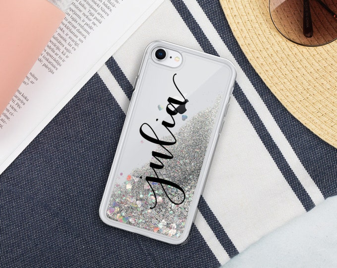Personalized Name Holographic Moving Liquid Glitter Phone Case