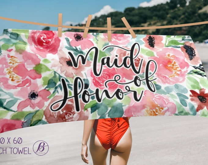 Maid of Honor, Bridesmaid, Mother of the Bride, Mother of the Groom Beach Towels | Watercolor Flowers Wedding beach Towel | Bride Towel