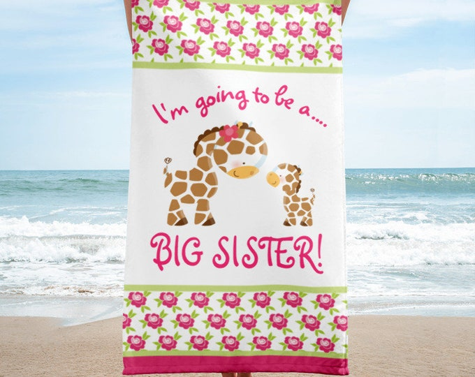 I'm Going to be a Big Sister Beach Towel, Big Sister Announcement, Pregnancy Baby Announcement , Promoted to big Sister - Big Sister to Be f