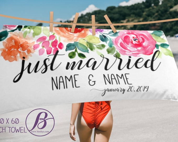 Featured listing image: Just Married - Bride Towel - Beach Towel- Bridesmaid Gift - Bride Gift - Engagement Party Decorations - Honeymoon Gift - Personalized Towel