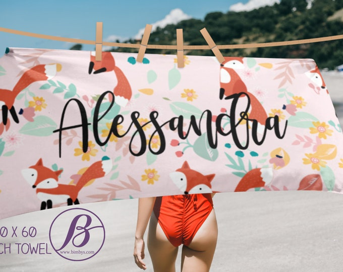 Custom beach towel with fox - personalized towel - pool towel - custom towel - monogram beach towel - beach towels - monogrammed towel