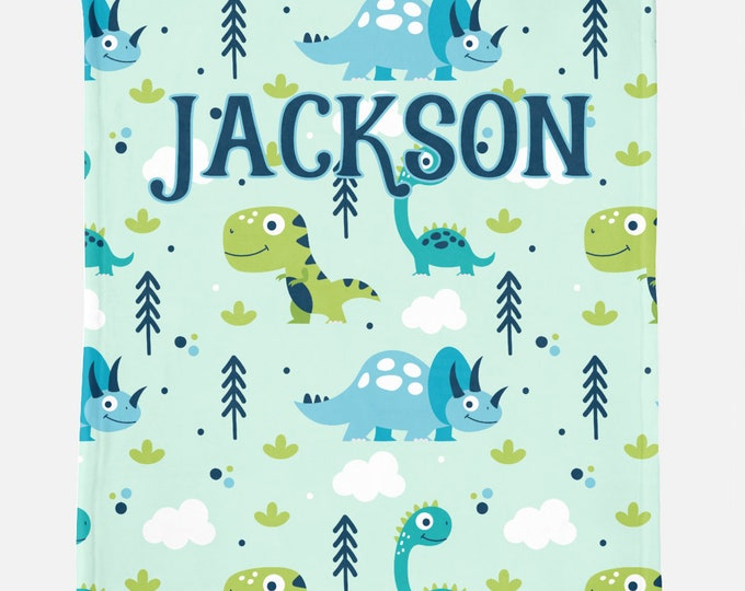 Dinosaur Custom Name Children's Blanket - Dinosaur print blankt for kids with custom name