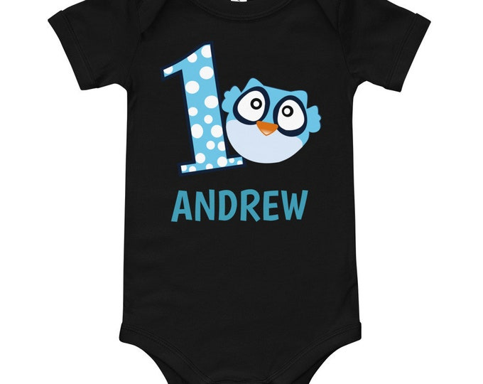 Custom Name 1st Birthday Blue Owl Baby Bodysuit | first birthday | 1st birthday outfit | first birthday shirt | birthday outfit