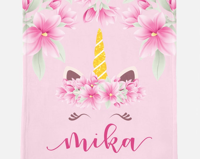 Personalized Blanket with Flowers and Unicorn Design
