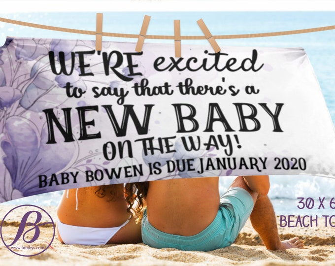 Beach TowelPregnancy Announcement Photo Props Beach Towel, Pregnancy Announcement Sign, Baby Announcement Sign, Pregnancy Announcement