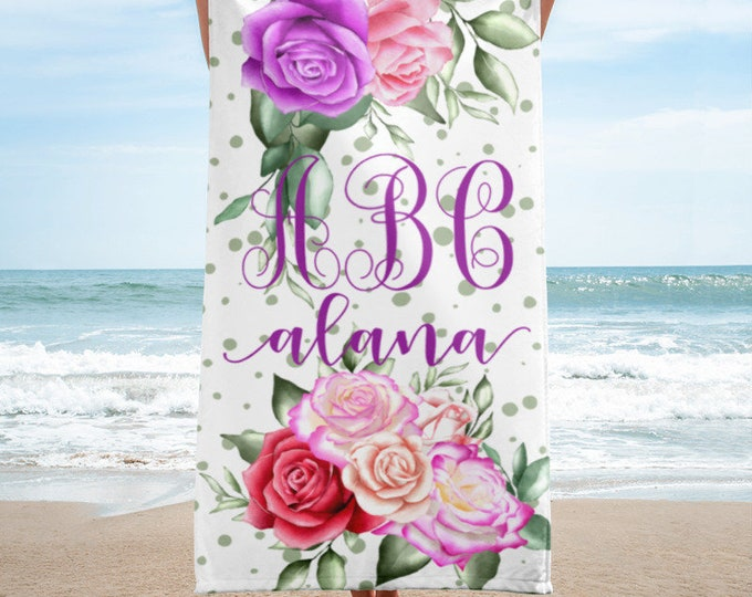 Personalized Name and Monogram Beach Towel with Floral Design, Rose Print Custom GIfts