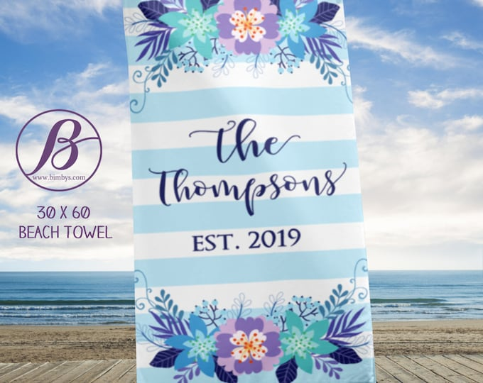 Beach TowelPersonalized Wedding Gift for Couple - Established Wedding Beach Towel Custom Wedding Gift Bridal Shower Gift