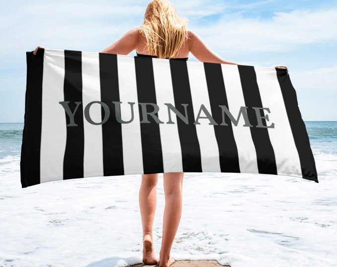 Personalized towel  large beach towel, Black and White Stripes Personalized Name Beach Towel | Monogram beach towel , monogrammed towel