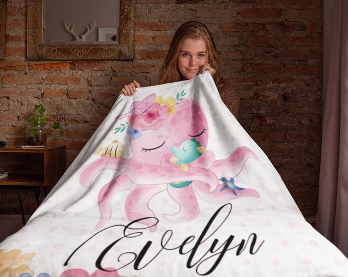 Polka Dots and Octopus Custom Name Throw Blanket for Kids | Personalized Blanket | Animal Print Blanket | Woodland Custom Kids BLanket