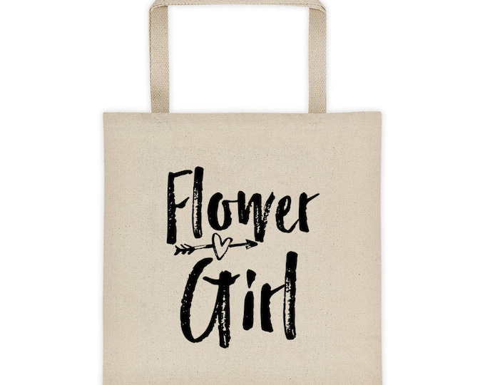 Flower Girl Tote Bag, Flower Girl Canvas Tote Bag, Maid of Honor Tote Bag, Bridal Party Tote Bag, Wedding Tote,Bridal Tote Bag,  Wedding Day