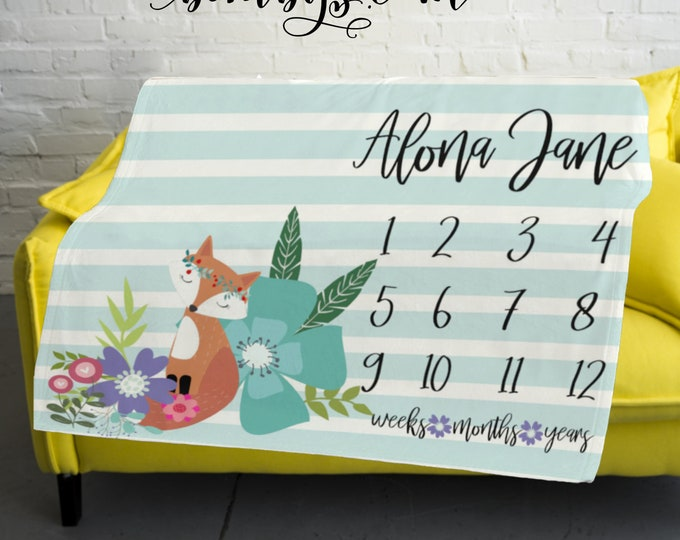 Baby Month Floral Fox Milestone Blanket -Woodland Milestone Blanket Monthly -  Monthly Growth Tracker Baby Blanket - Baby Girl Shower Gift