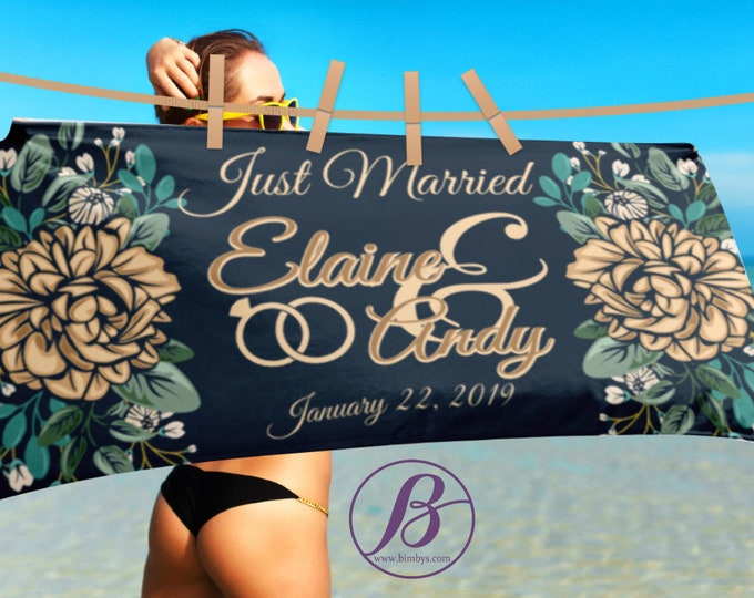Just Married Custom Beach Towel - Just Married Sign - Married Announcement - Personalized Wedding - custom wedding gift