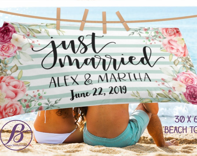 Just Married Beach Towel, Personalized Wedding Towels, Just Married Beach Towel, Honeymoon Beach Towel, Honeymoon Gift, Bride Wedding Beach