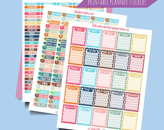 Featured listing image: Student Organization Printable Planner Stickers. Instant Download Digital Printable Stickers. School Student Planner Stickers