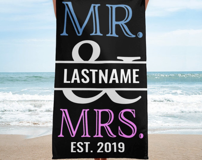 Personalized Beach Towel,Pink and Blue Mr. and Mrs. Personalized Beach Towel,Monogram Beach Towels, Custom Beach Towel, Wedding Beach Towels