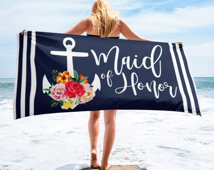 Featured listing image: Maid of Honor Anchor Beach Towel, Wedding Party Gift, Wedding Gift, Bridal Party , Maid of Honor Gift Ideas, Bridesmaid's Gifts, Bridesmaid