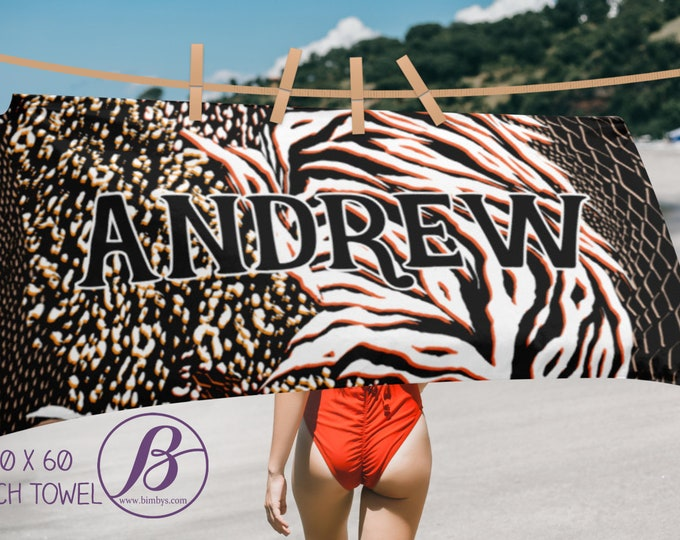 Custom name animal print beach towel - personalized towel with name - Choose script or print for name - personalized towel