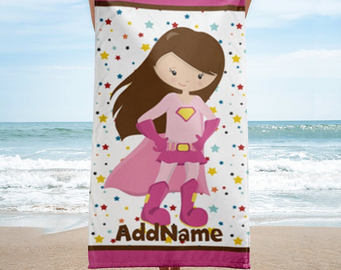 Personalized Kid's Beach Towel, Pink Girl Superhero Personalized Beach Towel, Personalized Beach Towel, Custom Personalized Beach Towel
