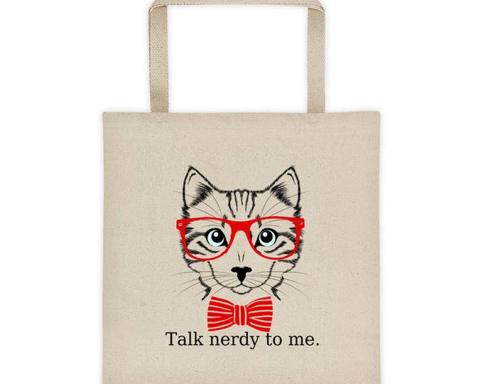 Talk Nerdy to Me Retro Hipster Cat with Glasses Tote Bag