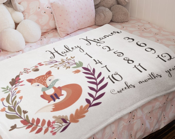 Personalized Fox Print Milestone Sherpa Blankets | Baby milestone blanket, Personalized milestone blanket,Personalized baby blanket