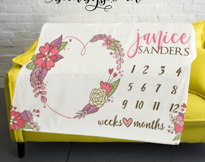 Floral Milestone Blanket  -Baby Month Heart Wreath Milestone Blanket - Monthly Growth Tracker Baby Blanket - Baby Shower Gift