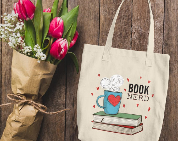 Coffee and Books Tote | Cotton Tote Bag | Book Nerd Tote Bag | Women's Book Nerd Canvas Tote Bag | Book Lover Reusable Tote Bag | For Her