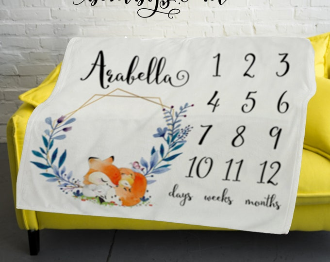 Baby Milestone Blanket  -Baby Month Wreath and Fox Milestone Blanket - Monthly Growth Tracker Baby Blanket - Baby Shower Gift