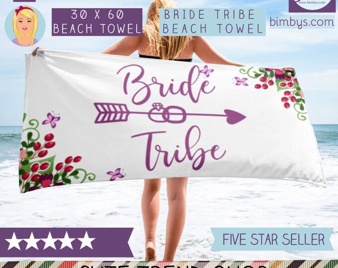 Bridal Shower Gifts For Bride - Bride Beach Towel - Bride Tribe Beach Towels - Beach Bridal Shower Towel - Beach Bride - Beach Bachelorette
