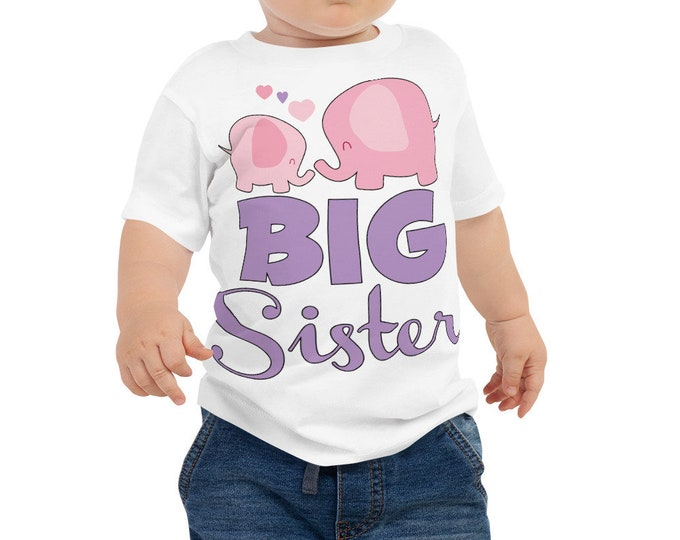 Big Sister Baby Jersey Short Sleeve Tee, Big Sister Elephnat Print Infant to Toddler T-Shirt, Big Sister T-shirt, Big Sister Shirt, Big Sis