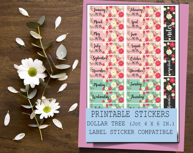 Printable Floral Months and Days Stickers | Jot Dollar Tree Sticker Label Compatible | Printable Planner Stickers | Floral Sticker