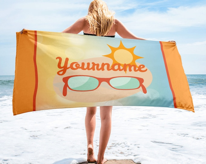 Custom Name - Summer Sunglasses Beach Towel | Personalized Towel | Monogrammed Towels | Custom name towels with summer theme design