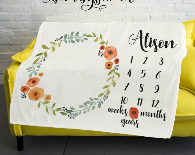 Milestone Blanket Monthly -Baby Month Floral Milestone Blanket - Monthly Growth Tracker Baby Blanket - Shower Gift
