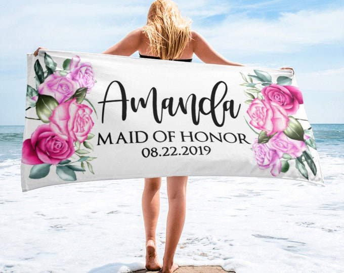 Matron of Honor Personalised Wedding Beach Towel | Bridal Shower Gift | | Gift for Bride | Newlywed Gift | Bridal Shower Gift - Floral Towel