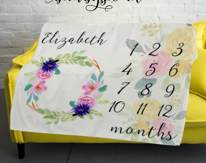 Floral Personalized Baby Milestone Blanket  -Baby Month Milestone Blanket - Monthly Growth Tracker Baby Blanket - Baby Shower Gift