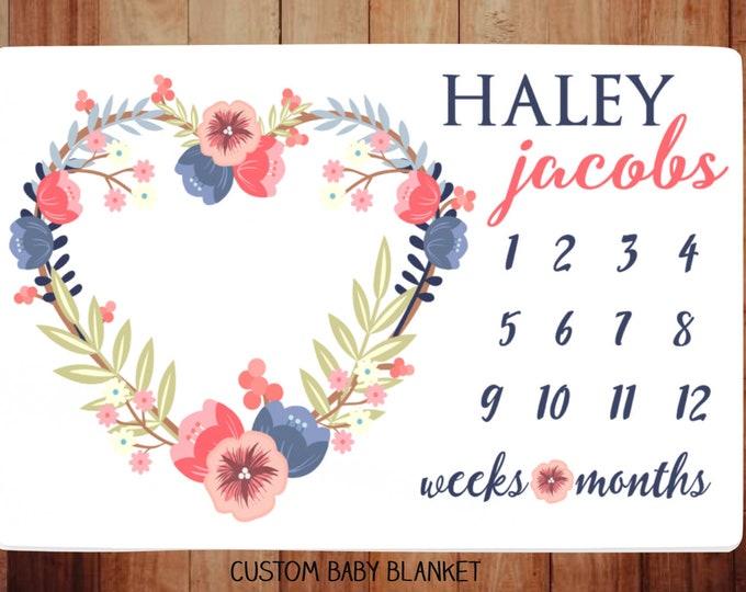 Milestone Blanket Monthly -Baby Month Heart Wreath Milestone Blanket - Monthly Growth Tracker Baby Blanket - Baby Shower Gift