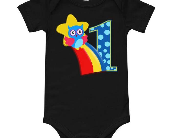 First Birthday or First Month Baby Bodysuit | Baby's First T-Shirt | Owl Birthday Infant Shirts | Baby's First Birthday Outfit