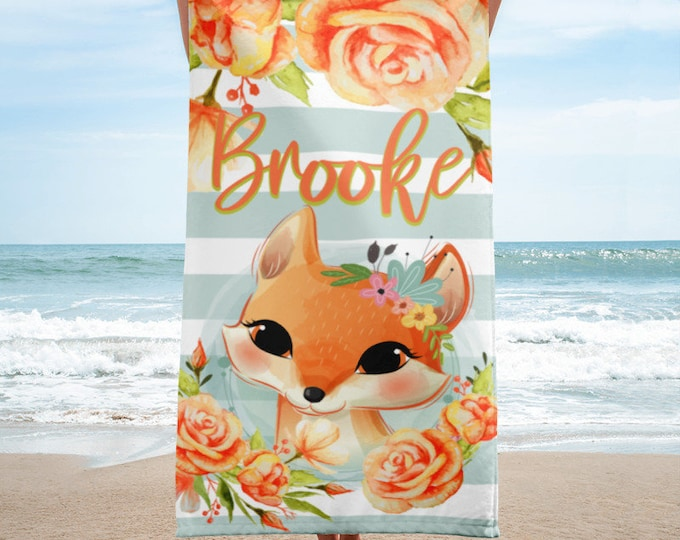 Fox Print Towel, Kids Beach Towels Personalized, Beach Towel Personalized, Custom Beach Towel, Birthday Gift, Personalized Gift