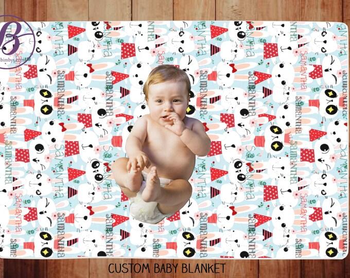 Custom Pattern Name Baby Blanket - baby blanket personalised - baby name blanket - monogrammed blanket - name blanket - floral baby blanket