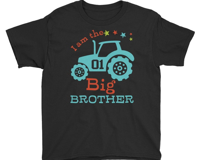 Big Brother T-Shirt Tractor Print, Big Brother Shirt - Sibling Shirt - Pregnancy Announcement, Big Brother Shirt - Sibling Shirt - Pregnancy